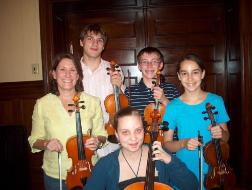 Soloists for the Vivaldi Concerto Grosso Op. 3, No. 1 in the Merrimack Valley String Orchestra Concert June 11, 2011 are: l. to r. - Catherine Sullivan, Morgan Bronson, Taylor Bronson, Connor Wertz and Sarah Cronin.