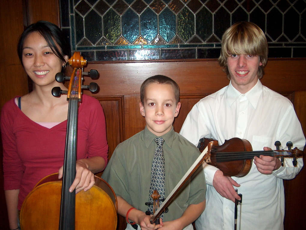 Soloists for the Corelli Concerto Grosso in the Merrimack Valley String Orchestra Concert Dec. 11 are: l. to r. - Wenxi Liu, cello (North Andover), Paul Cronin, violin (Atkinson, NH), and Owen Vail, violin (Georgetown).